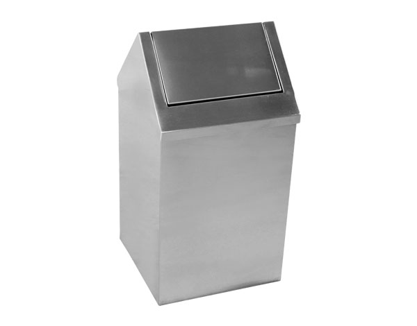 Crystal UMHU0302   Waste Container, Swing Top / Stainless Steel 37x37x65 cm